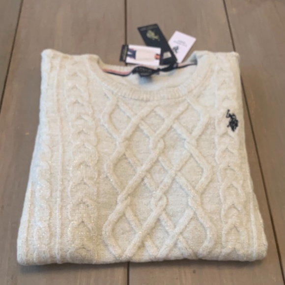 U.S. Polo Assn. Women's Crew Neck Sweater Marshmallow/Gold